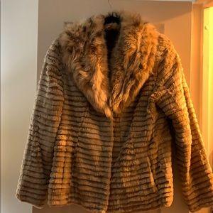 Jackets & Blazers - Custom-made rabbit fur jacket with fox fur collar.
